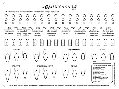 Americanails Acrylic Nail Training Mat - Silicone Trainer Sheet for Application Practice, Flexible Roll Up Pad Template for Acrylic Fingernails, Learn How to Apply Acrylic Nails