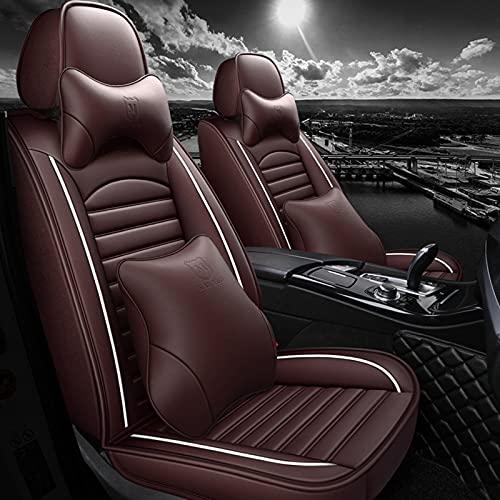 HZWZ 5Pcs Cubiertas De Asiento De Automóviles Conjunto Completo con Cuero Impermeable, Airbag Compatible Vehículo Automotriz CUBIERTE CUBITA Universal Fit para La Mayoría De Los Autos,Marrón