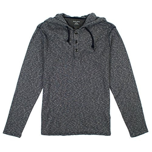 DKNY Jeans Mens Long Sleeve Hooded Henley XL Dark Blue