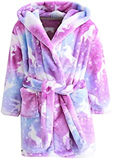 Image of Cozy Multi Color Hooded Flannel Unicorn Bath Robe for Girls and Toddler Girls - See More Designs