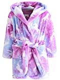 Girl's Soft Flannel Bathrobes, Hooded Soft Warm Sleepwear with Belt Flannel Robe for Girl, Purple, US 7-8 Years, CN 140