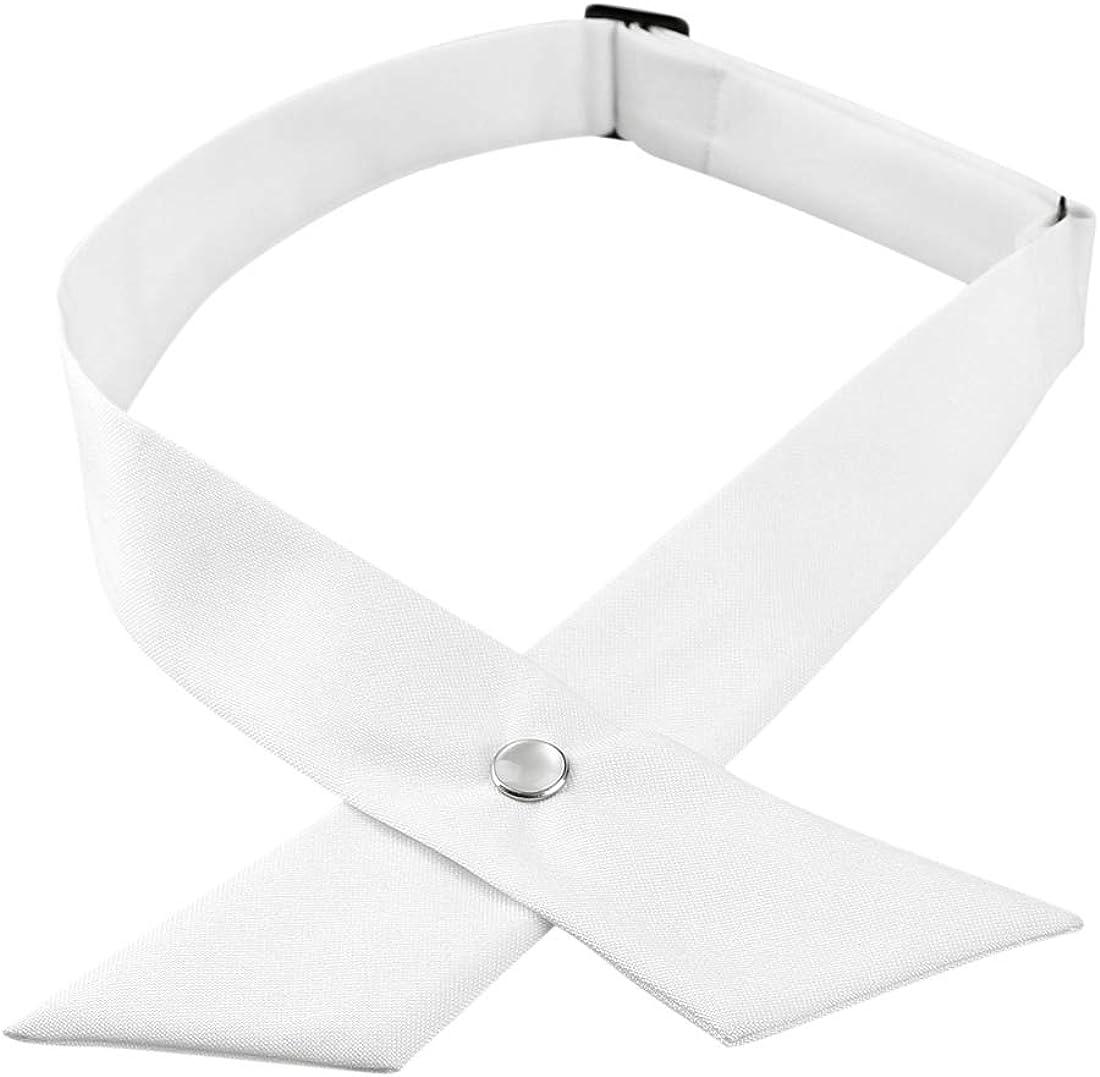 uxcell Men's Adjustable Criss-Cross Bowtie School Uniform Solid Color Snap Button Neck Tie