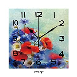 SUPFENG 8 Inch Square Face Silent Wall Clock Watercolor Red Poppy Flowers, Blue Cornflower and White Daisy Painting Unique Contemporary Home and Office Decor No-53065