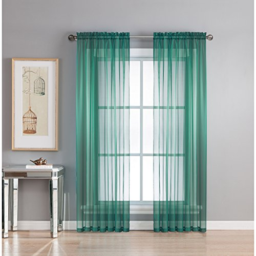 Window Elements Diamond Sheer Voile Extra Wide 112 x 84 in. Rod Pocket Curtain Panel Pair, Grey Teal