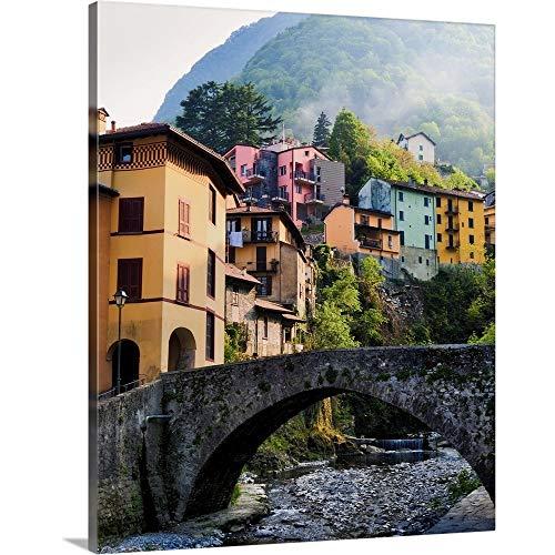 GREATBIGCANVAS Fog Drifts Down Mountain and Through Idealistic Village Along Lake Como. Canvas Wall Art Print.