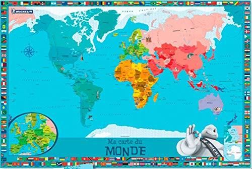 Ma carte du monde pour enfants : 1 poster + 1 planche de stickers repositionnables