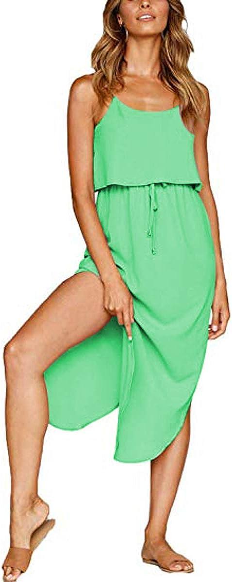VYNCS Women's Summer Casual Dresses Adjustable Straps Sleeveless Sundress Split Beach Midi Dress