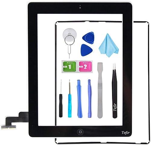 Tefir Noir Ecran de Remplacement pour iPad 2 A1395 A1396 A1397, Assemblage de la vitre Frontale du numériseur pour éc...