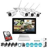 ANNKE WL400 4CH 5MP WiFi NVR Kit de Surveillance Sans fil avec HDD 1TB l'écran LCD 10,1'' et...