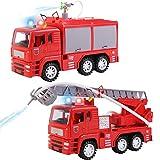 deAO Camión de Bomberos y Camión Escalera de Rescate Conjunto de 2 Camiones Modelo Escala 1:16 con Luces y Sonidos, Función con Agua y Movimiento a Friccion