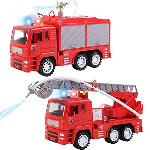 deAO Feuerwehrauto Spielset mit abnehmbarem Zubehör, Wasserschlauch, Lichtern und Geräuschen - Spielzeugauto für Kleinkinder und Kinder (2er Pack)