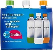 SodaStream Pet-flessen 2+1 action-set, 3x 1 l PET-flessen van onbreekbaar kristalhelder PET in de kleuren oranje, groen...