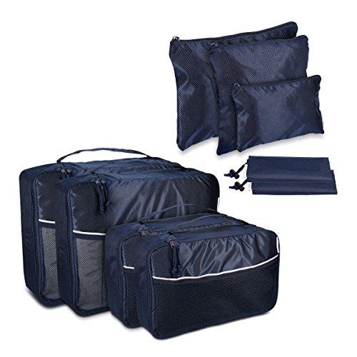 Navaris set organizer per valigia - 9 custodie da viaggio borse con cerniera astucci e sacchetti - per scarpe vestiti indumenti e oggetti - blu scuro