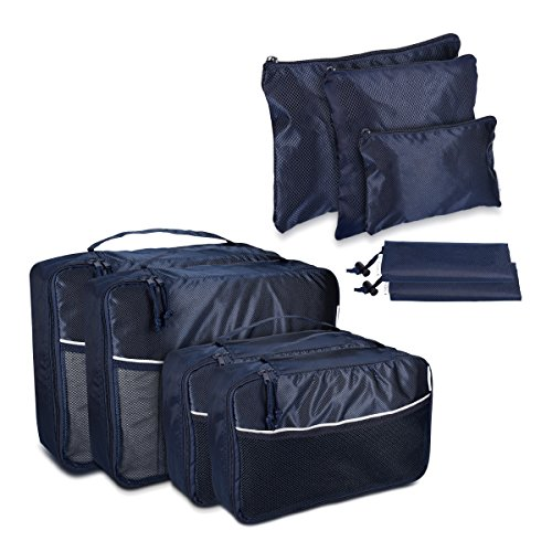 Navaris Koffer Packtaschen Set 9-teilig - Kleidertaschen Schuhbeutel Wäschebeutel Kofferorganizer Koffertaschen - Travel Packing Cubes Dunkelblau