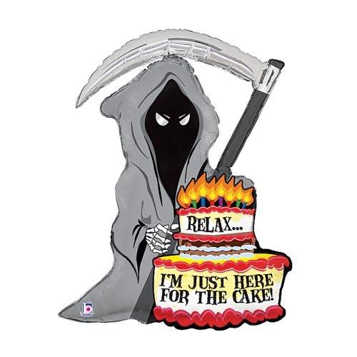 Grim Reaper Birthday Cake Candles 35' Balloon Mylar