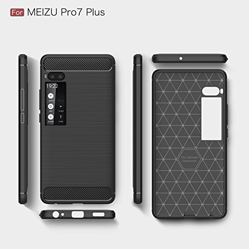 SsHhUu Meizu Pro 7 Plus Hülle, Carbon Fiber Design Erscheinungsbild Ultra Slim Leicht Anti-Scratch Stoßfest Hülle Gummi TPU Phone Case für Meizu Pro 7 Plus 2017 (5.7