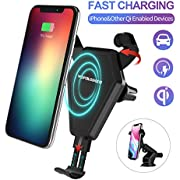 Car Wireless Charger Mount,Qi Fast Wireless Charging Car Mount,Air Vent Phone Holder,Charging for iPhone X 8/8 Plus Samsung Galaxy S8/S9.Automatic Open and Clamp(Safe Drive)