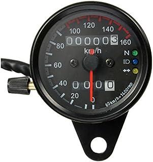 Motorrad Kilometerzaehler Tachometer   SODIAL(R) Motorrad Dual Kilometerzaehler Tachometer Messgeraet LED Hintergrundbeleuchtung kmh 12V Schwarz
