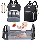 3 in 1 Diaper Bag Backpack with Changing Station, NIUTA 2021 Travel Bassinet Foldable Baby Bed with Insulated Pocket, Baby Bag Portable Crib, Large Capacity, Waterproof. (Dark Grey)