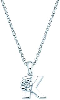 Little Diva Diamonds 925 Sterling Silver .01 Ctw. Diamond Accent Initial Flower Pendant Necklace for Children, 16""