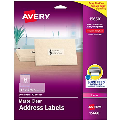 Avery Matte Frosted Clear Address Labels for Laser Printers, 1 x 2-5/8, 300 Labels (15660)