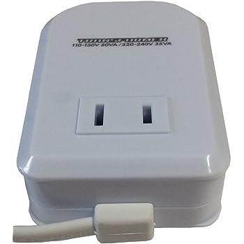 カシムラ 海外用 変圧器 薄型 AC 110V ~ 130V / 50W , AC 220V ~ 240V / 35W 本体電源プラグ Aプラグ , 出力コンセント Aタイプ NTI-77