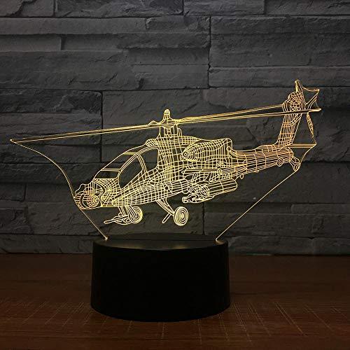 3D Night Light helicóptero 3D, luz nocturna con interruptor de control de luz LED, lámpara de mesa de avión, lámpara 3D, 7 cambios de color, USB, lámpara ambiental para interior, regalo de cumpleaños