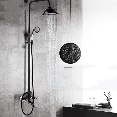 Gnailur Juego de grifo de ducha de latón antiguo negro Pórcelano Deco Bañera Kit Kit de ducha Spray Doble Perillas Mezclador Tapa giratoria Show-Bronce negro