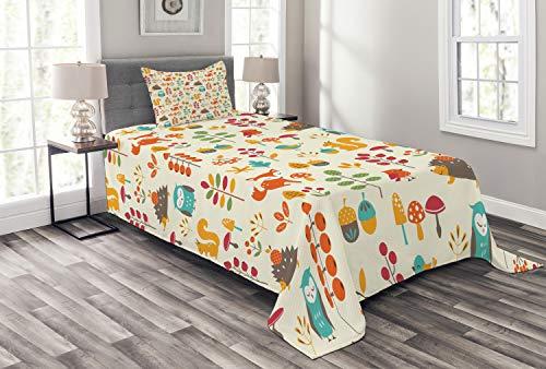 ABAKUHAUS Kinder Tagesdecke Set, Owl Fox-Eichhörnchen Vögel, Set mit Kissenbezug Moderne Designs, für Einselbetten 170 x 220 cm, Multicolor