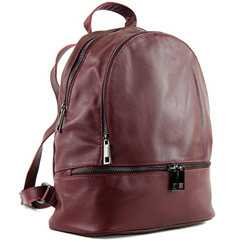 modamoda de - T137 - ital Damen Rucksacktasche aus Leder, Farbe:Bordeauxrot