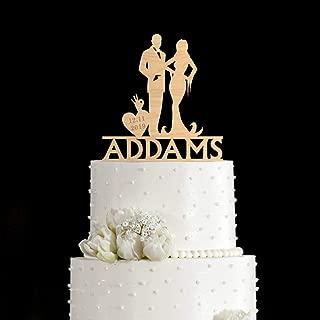 Wooden/acrylic Halloween cake topper,halloween wedding cake topper,addams family cake topper,