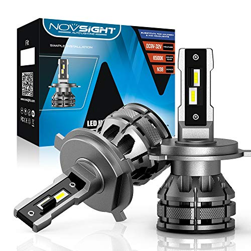 NOVSIGHT H4 車用led ヘッドライト 自動車グレードLEDチップ搭載 驚異の純正ハロゲンサイズ登場 車検対応 15000LM 80W(40W*2 ) 冷却ファン付 2年保証 2個セット