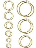 Sumind Earrings Clip On Earrings Non Piercing Earrings Set for Women and Girls, Different Sizes(Gold Color)