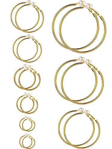 Set di orecchini a clip per donne e ragazze, diverse misure, non serve avere i lobi forati e NA, colore: Colore oro, 9 paia, cod. Sumind-Hoop Clip On Earrings-01