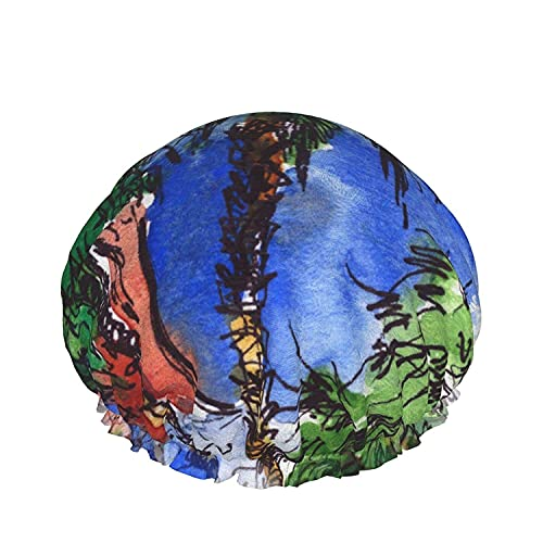 Double Layers Shower Cap,Palm Trees Summer Background Bright Color Juicy And Fresh,Reusable Waterproof Elastic Bath Caps for All Hair Lengths-style12-1pcs