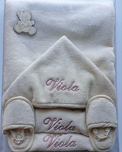 Asciugamano da bagno neonato Accappatoio Triangolo neonato con ricamo personalizzato cotone con cappuccio ciabattine e 2 bavaglie per regalo neonati da 0 a 4 anni ecru per bagno bagnetto piscina mare