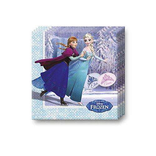Procos 20 Servietten * Frozen Ice Skating * für Kindergeburtstag oder Motto-Party // Kinder Geburtstag Party Napkins Motto Disney ELSA Anna Olaf Schlittschuhe die...
