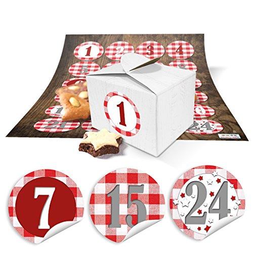 24 kleine doosjes miniboxen 8 x 6,5 x 5,5 om zelf adventskalender te knutselen en te vullen + ronde cijfers stickers rood wit geruit van 1 tot 24 als cadeau-idee voor Kerstmis