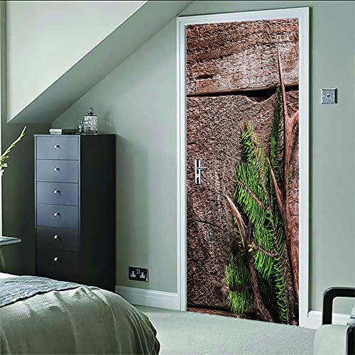 3D-sticker voor deur, om zelf vorm te geven, van hout, getextureerd, decoratie voor deuren, binnenruimtes, slaapkamer, kantoor, wanddecoratie, 77 x 200 cm