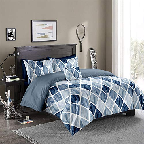 HONGIRT Bed Linen Gradient Nordic Diamond Grid Duvet Cover Pillowcase Bedding Set Dream Blue 220 x 240 cm (3-Piece Suit)