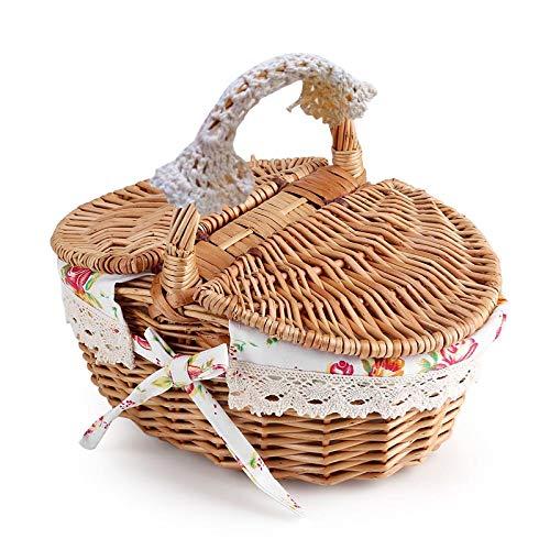 Yissone Leicht Und Langlebig Wicker Picknick Korb Elegent Picknick Lagerung Korb mit Kleine Blume Leinen Griff für Urlaub Camping Verwenden