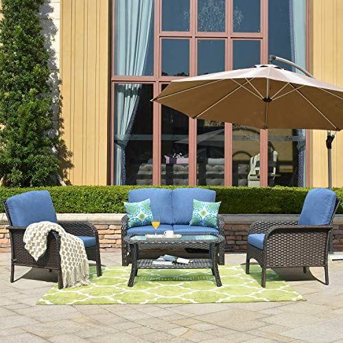 ovios Pieces Outdoor Patio Furniture Sets Rattan Chair Wicker Set with Cushions,Table,Outdoor Indoor Backyard Porch Garden Poolside Balcony Furniture (Brown-Blue)