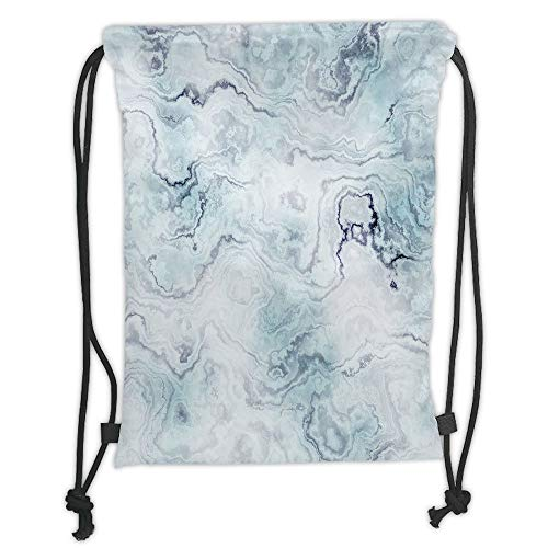 Fevthmii Drawstring Backpacks Bags,Marble,Soft Pastel Toned Abstract Hazy Wavy Pattern with Ottoman Influences Image Decorative,Light Blue Grey Mint Soft Satin,5 Liter Capacity,Adjustable S