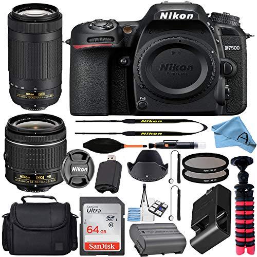 Nikon D7500 20.9MP DSLR Digital Camera w/AF-P DX NIKKOR 18-55mm f/3.5-5.6G VR & AF-P DX 70-300mm f/4.5-6.3G ED Lens + SanDisk 64GB Memory Card + Camera Bag + Accessory Bundle (Black)