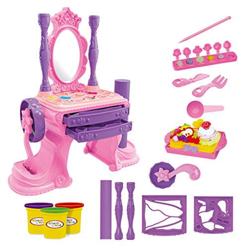 NszzJixo9 Girls Make Up Dressing Table Set , Kids Vanity Table,Glamorous Princess Dressing Table with Stool, Mirror, Hair Dryer,Best Gift for Girls