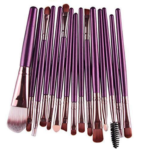 MOONRING 15 PCS Brosses de maquillage pour les yeux Correcteurs à double extrémité Mélange d'ombres à paupières Mélange de pinceaux à sourcils, tube de café à tige pourpre