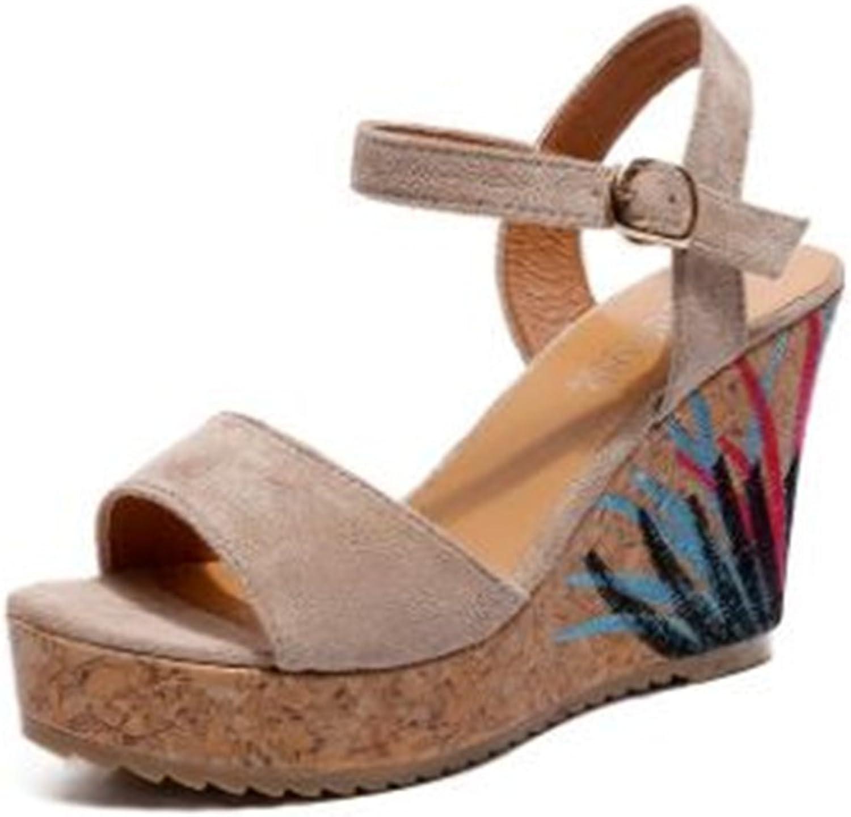Bon Soir Women's Wedges Sandals High Platform Open Toe Ankle Strap shoes