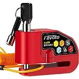 Favoto Candado de Disco de Freno Moto Dispositivo Antirrobo con 110dB Alarma Bloqueo de 7mm para Motos Motocicletas Bicicletas con Cable Recordatorio y Bolsa de Transporte Rojo