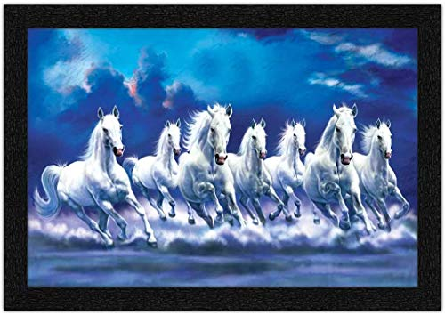 Paintings Villa Seven Lucky Horse Framed Painting for Home & Office Decoration - (Synthetic Wood, Item Size: 50 cm x 35 cm x 2 cm)