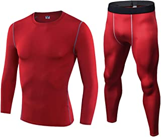 Men's Quick-Drying Thermal Underwear Top & Bottom Set 2 pc Long John Winter Ski Cycling Moto Sports